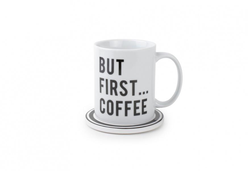 d00de56c HVIT KOPP MED SORT TEKST, BUT FIRST COFFEE 0.325L - Hopeful